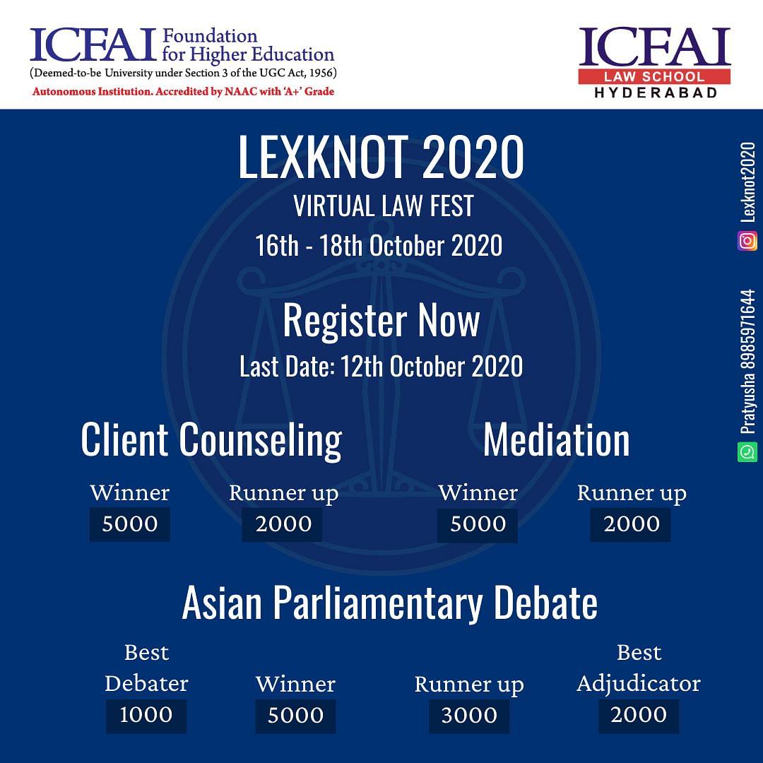 ICFAI Law School Hyderabad to host LEX-KNOT 2020 - Virtual Law Fest (Oct 16-18)