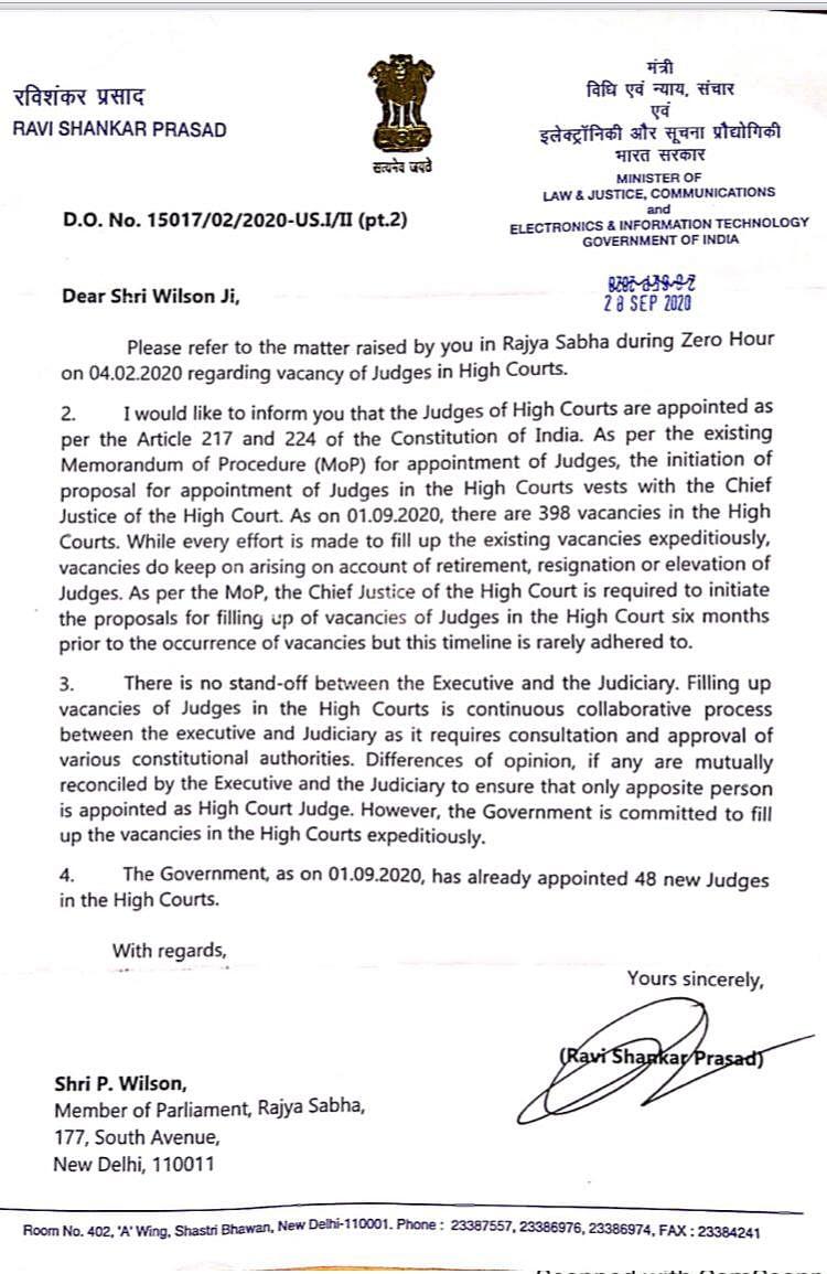 Law Minister RS Prasad's letter