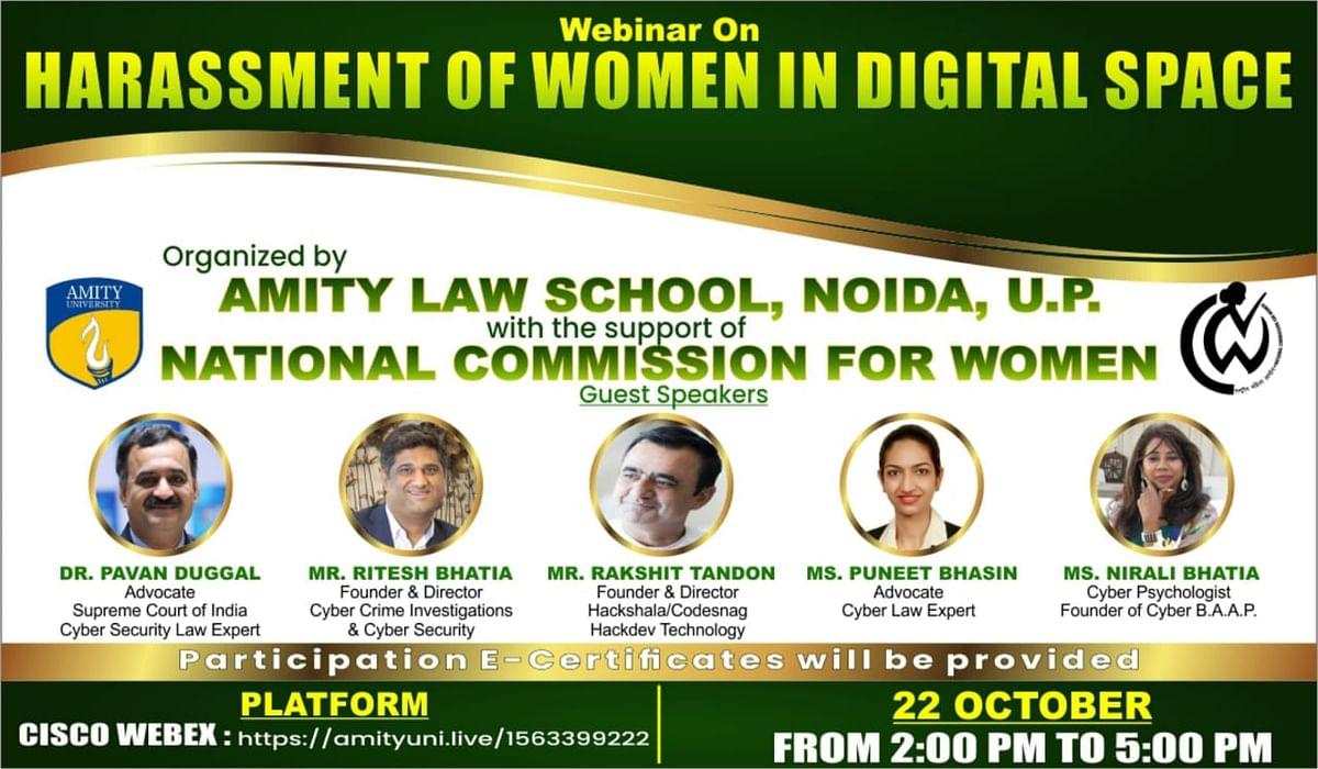 Webinar Alert: National Webinar On Harassment of Women in Digital Space (Oct 22)