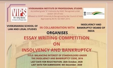 Register for VIPS' Essay Writing Competition on Insolvency & Bankruptcy (Cash prize of 10,000)