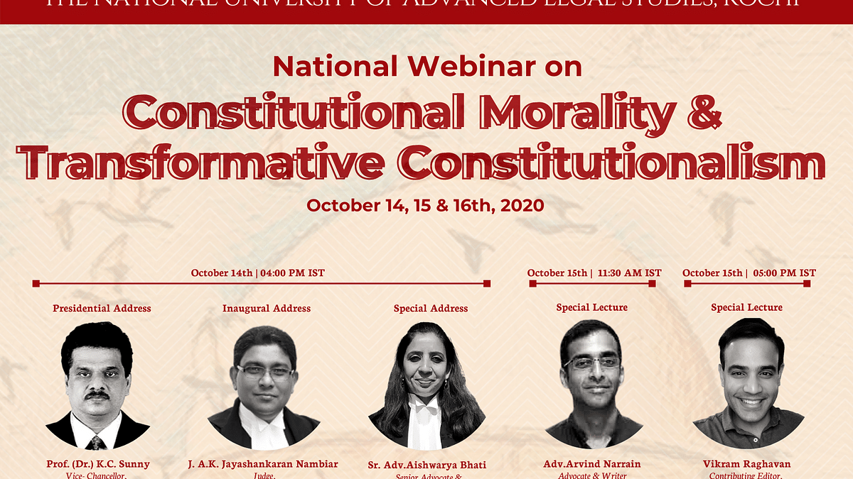 Webinar Alert: Constitutional Morality & Transformative Constitutionalism (Oct 14 -16)