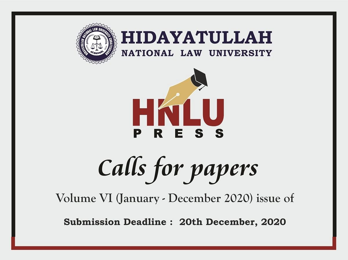 Call for Papers: HNLU's Journal of Law and Social Sciences (Submit by Dec 20)