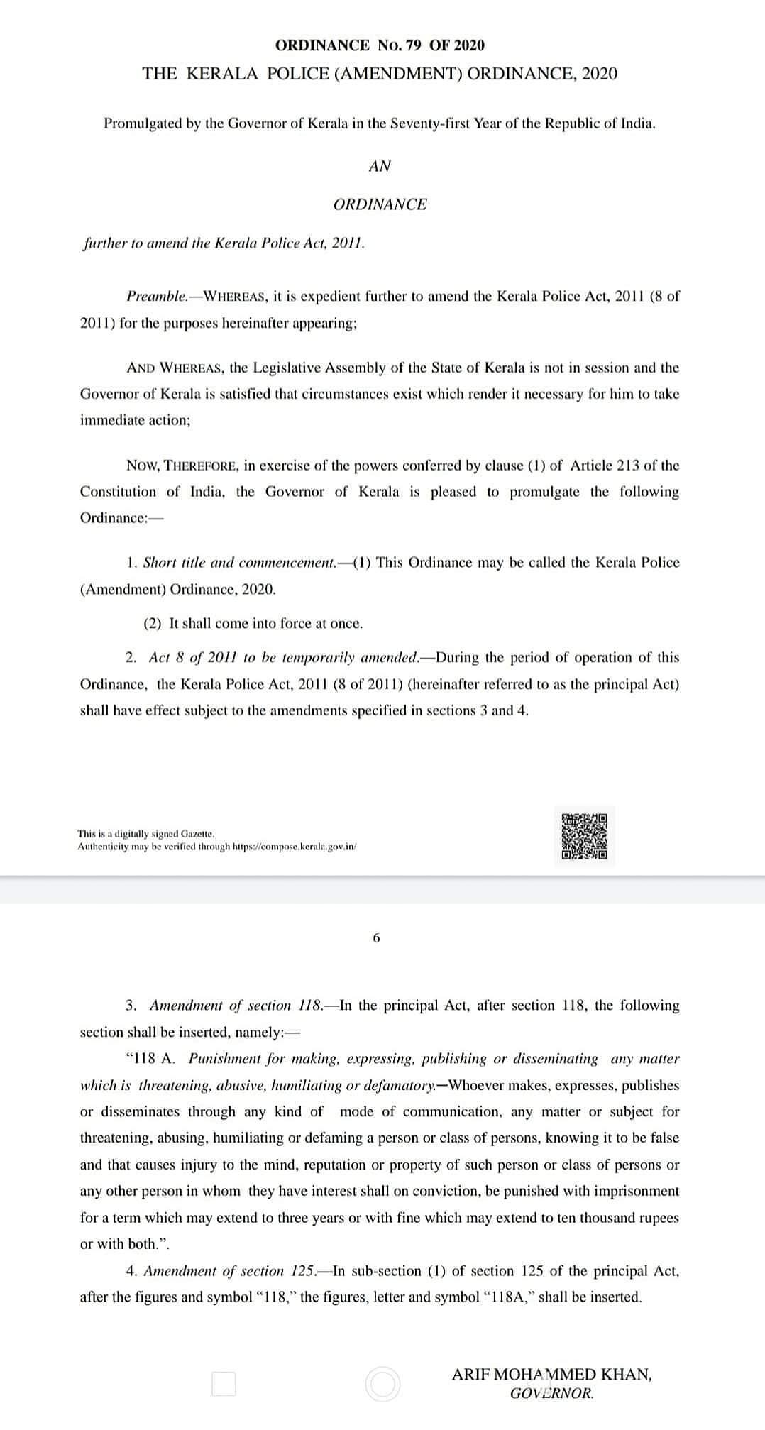 Snapshot of Kerala Police (Amendment) Act