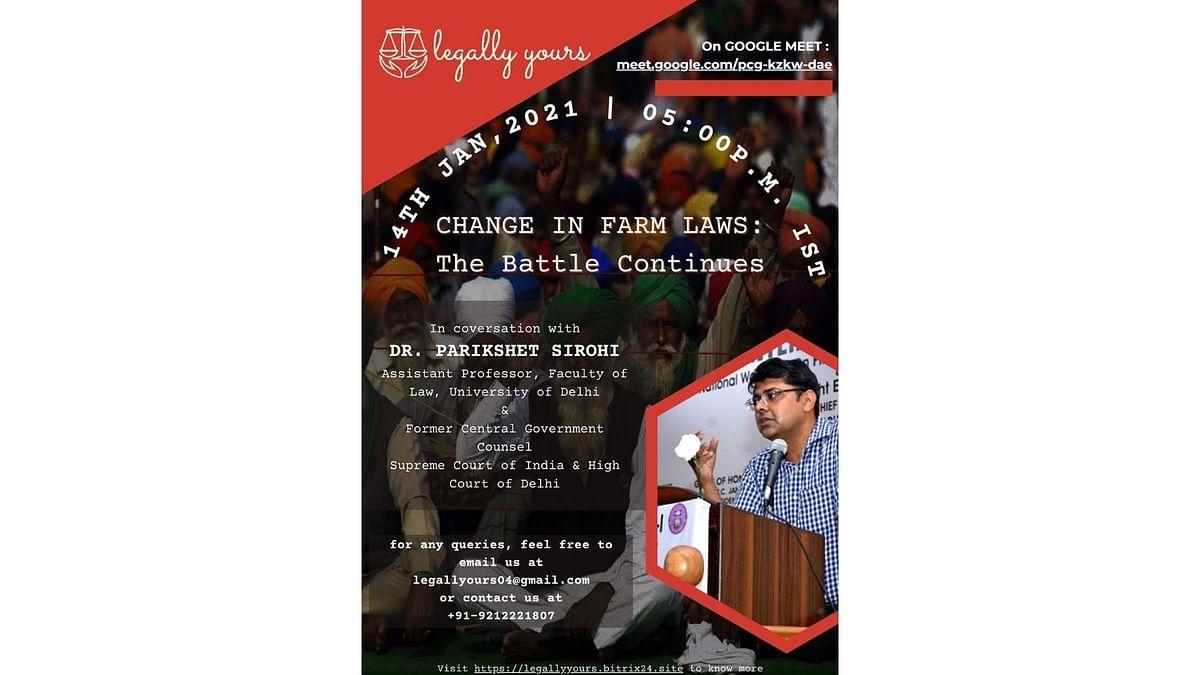 Webinar Alert: Legally Yours's webinar on new farming laws with Dr. Parikshit Sirohi (Jan 14)