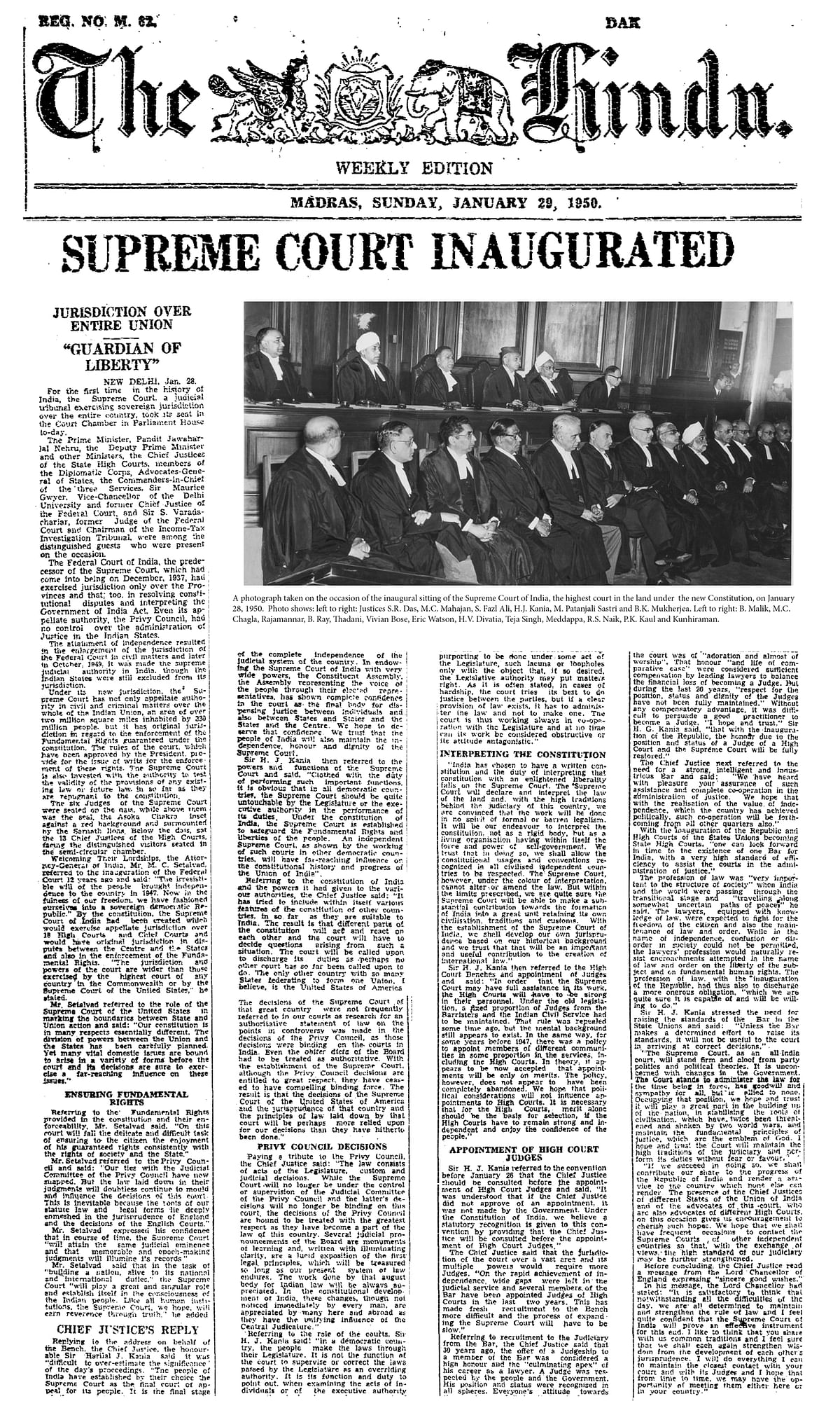 Inauguration Ceremony of Supreme Court, published by The Hindu in 1950
