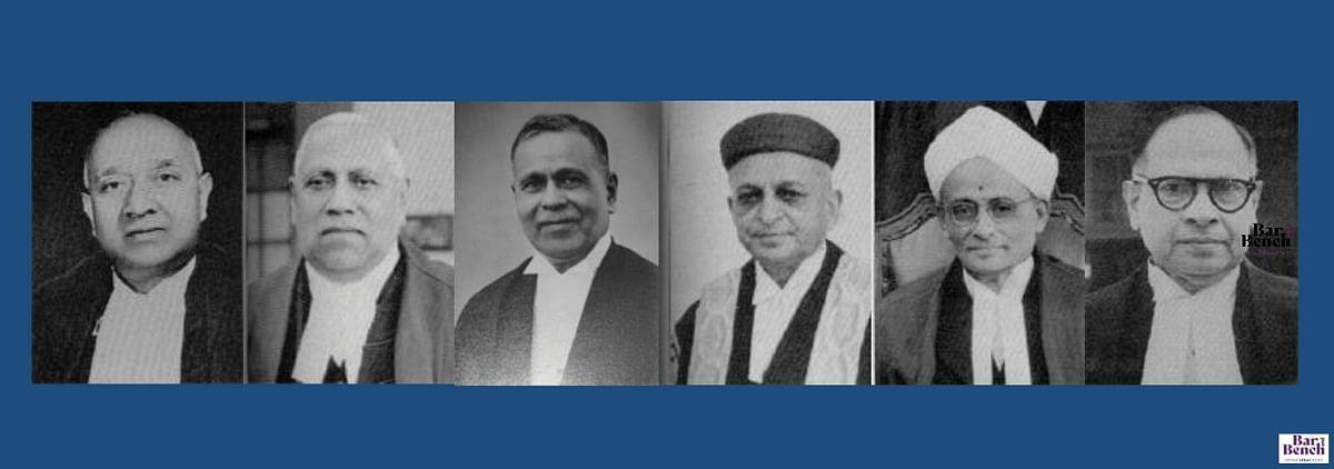 Justices S.R.Das, M.C. Mahajan, S. Fazl Ali, H.J. Kania, M. Patanjali Sastri, and B.K. Mukherjea. (from Left to Right)