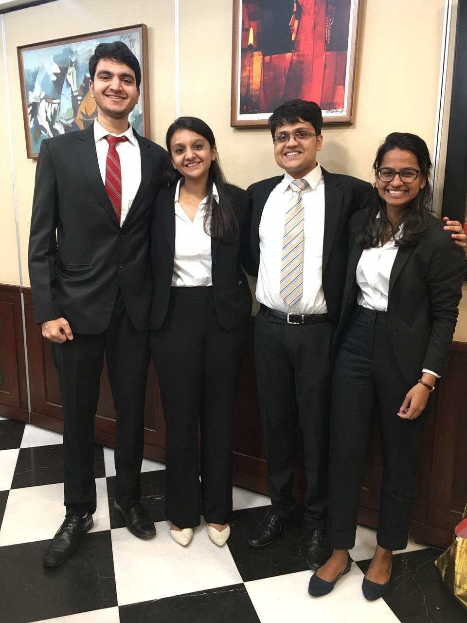 The team of Akilesh Menezes, Priyanshi Vakharia, Anjali Karunakaran & Yash Shiralkar