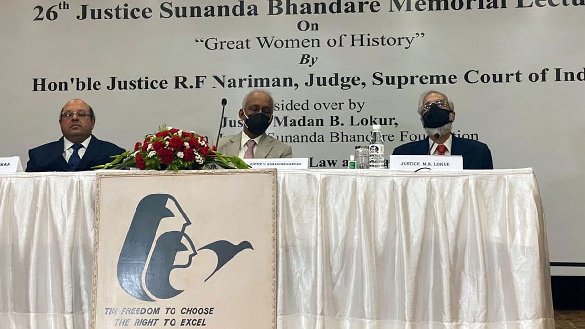 """Justice RF Nariman speaks on """"Great Women of History:"""" LIVE UPDATES from 26th Justice Sunanda Bhandare Memorial Lecture"""
