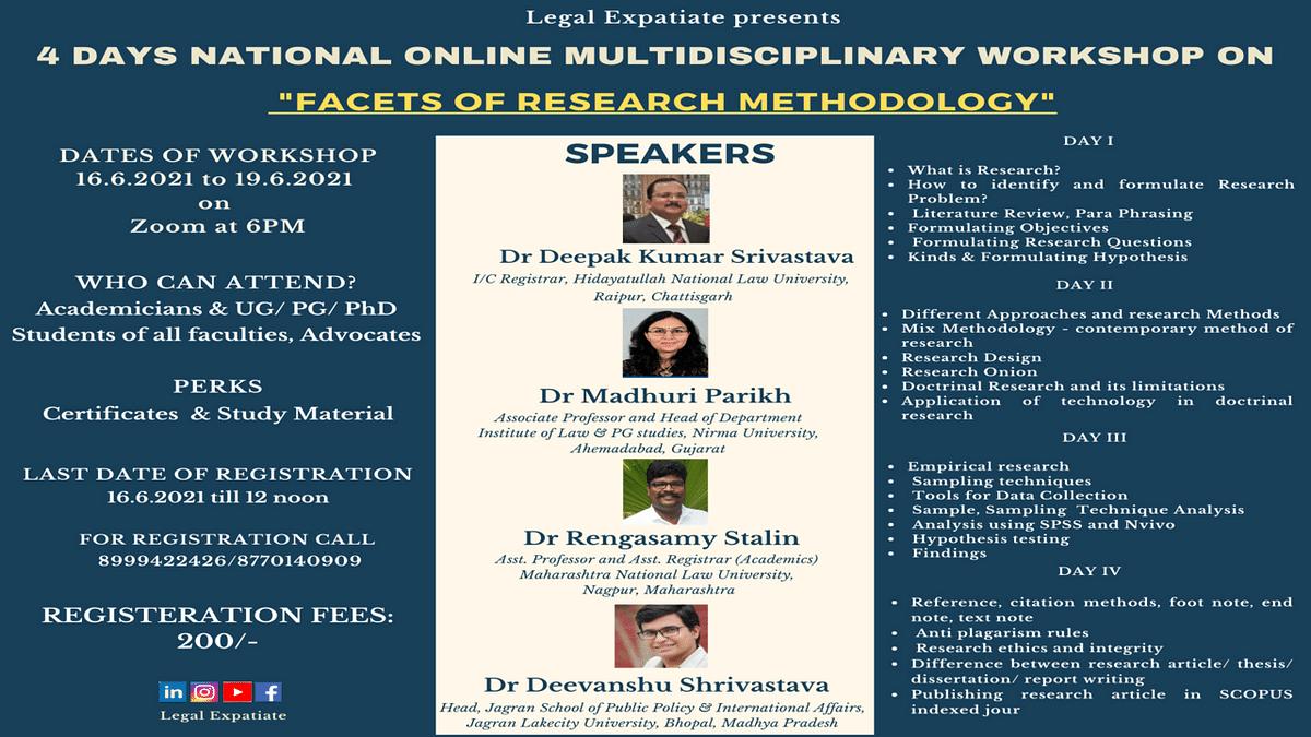 4 days online Multidisciplinary workshop on Facets of Research Methodology
