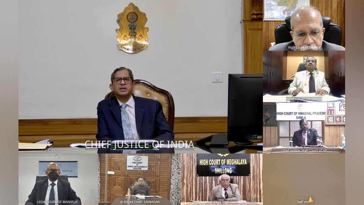 """""""Digital divide impacting functioning of judiciary:"""" CJI NV Ramana discusses way forward with all High Court Chief Justices"""
