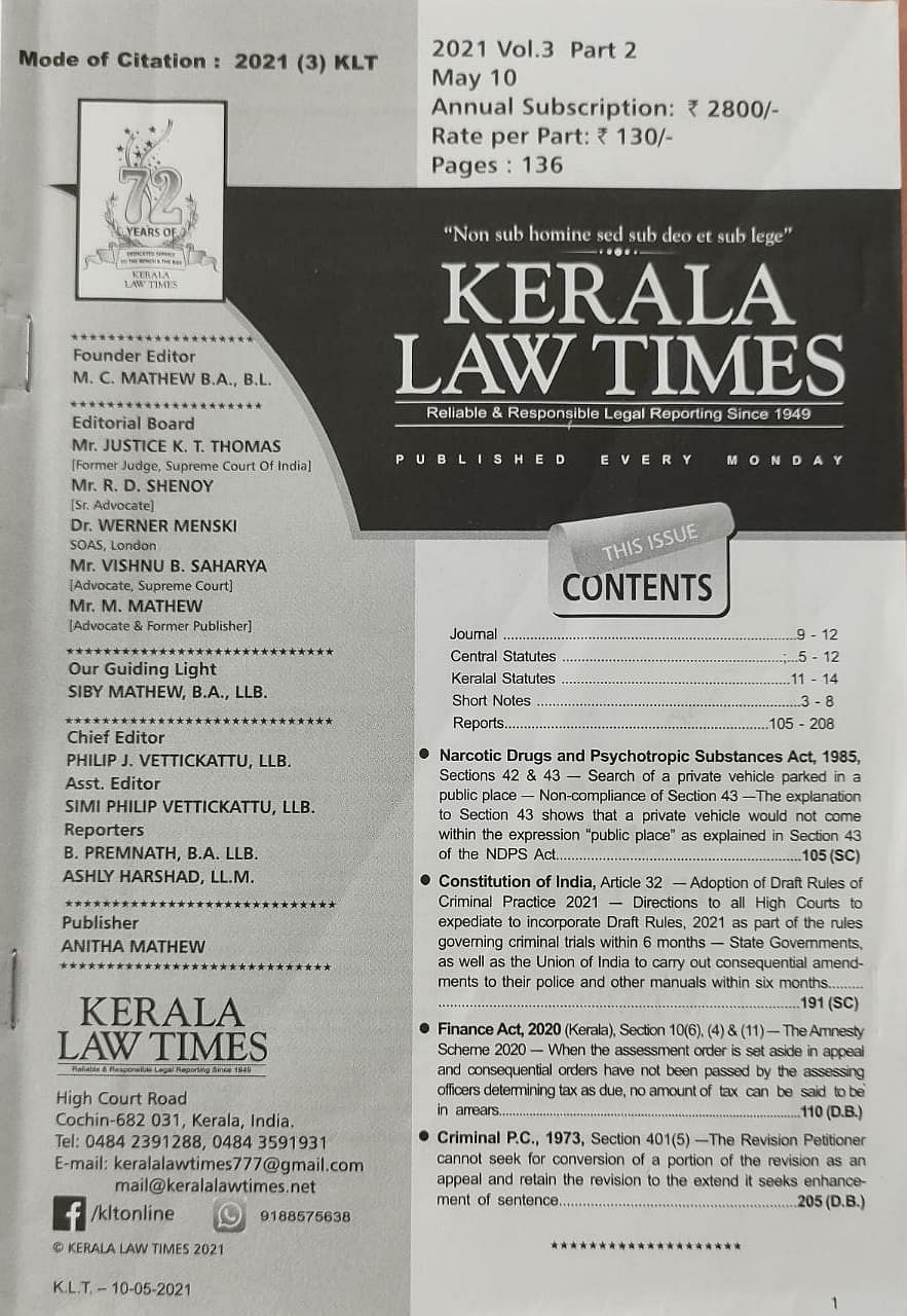 As a young lawyer, would read Kerala Law Times during her bus commute.