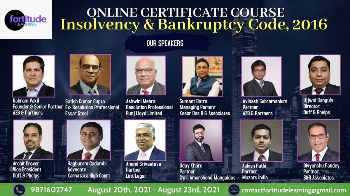 Fortitude Learning's online certificate course on the Insolvency and Bankruptcy Code, 2016 [Aug 20 - Aug 23]