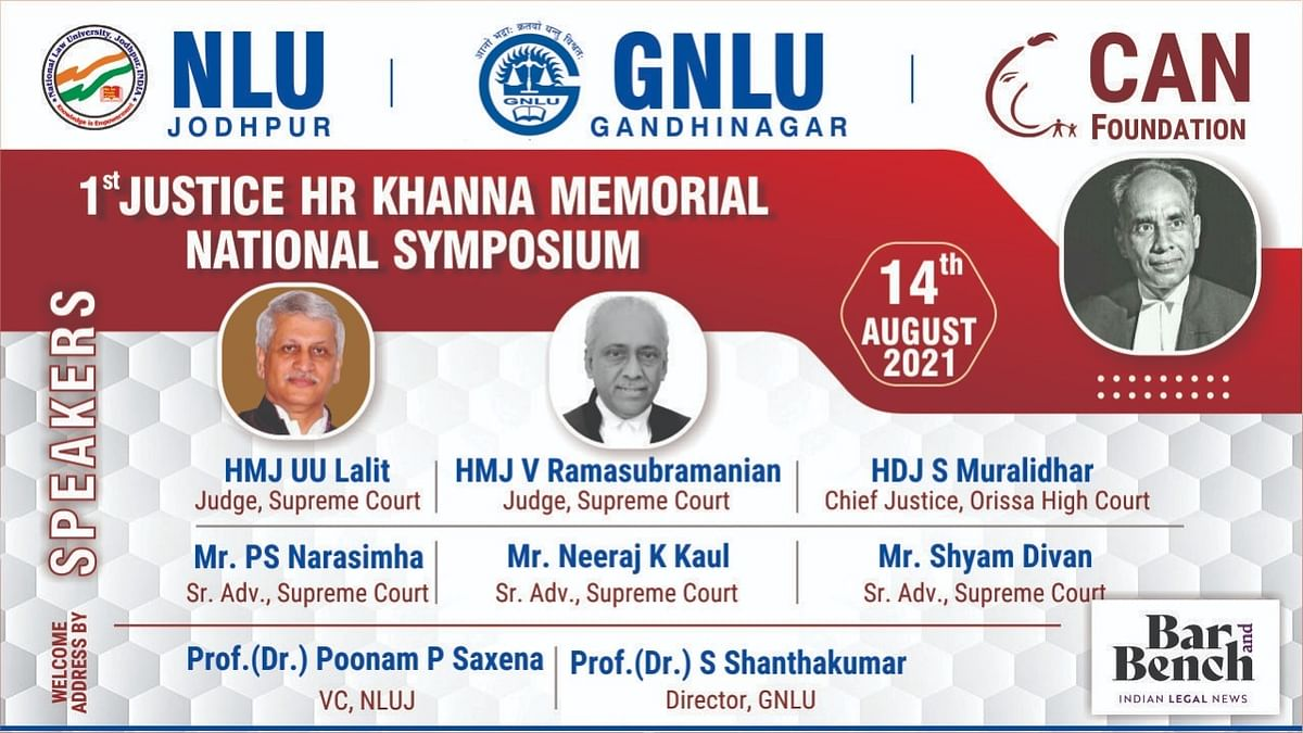 Legal titans to speak at '1st Justice HR Khanna Memorial Symposium' on August 14