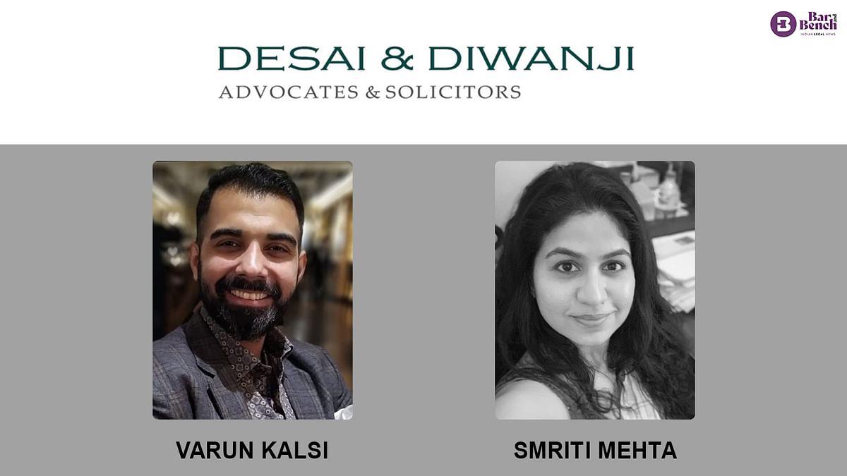 PSA's Varun Kalsi joins Desai & Diwanji as Partner; Smriti Mehta elevated to Partner