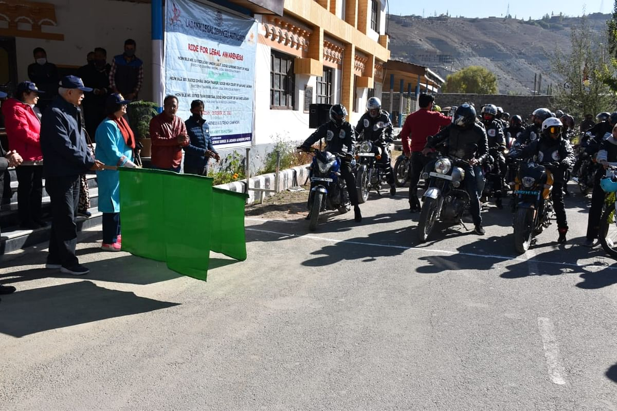 Supreme Court judge Justice UU Lalit flags off bike rally 'Ride for legal Awareness' in Ladakh