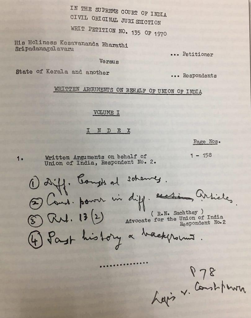Case papers of Nani Palkhivala in the Kesavananda case. (Image Credit: Nani Palkhivala – God's gift to India by Dharmendra Bhandari)