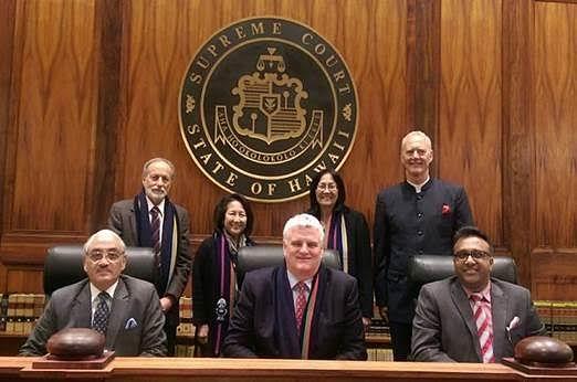 JGLS Dean Prof. C Raj Kumar with Justice Swatanter Kumar and judges of the Supreme Court of Hawai'i