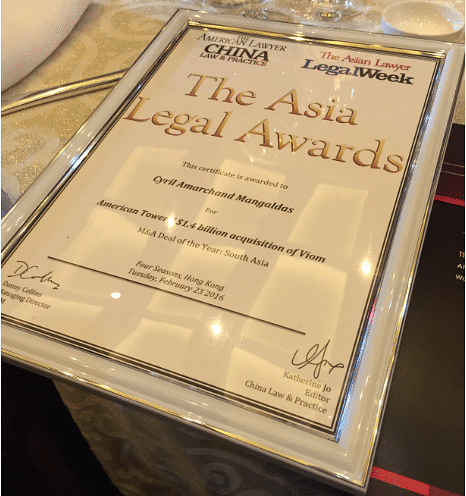 Cyril Amarchand, AZB win M&A Deal of the Year Award at Asia Legal Awards
