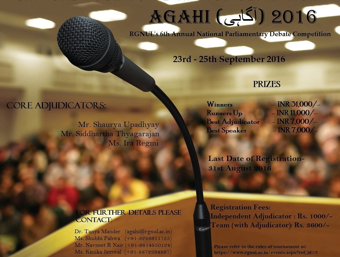"RGNUL's National Parliamentary Debate Competition ""Agahi"" (Register by August 31)"
