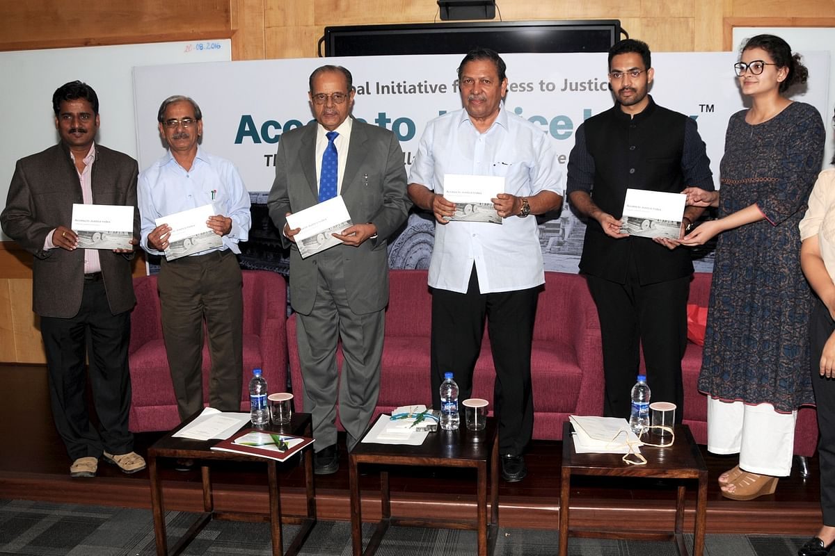Basavanagouda Patil & Bhuvanyaa Vijay (extreme right) at the launch of the Index with Prof Madhava Menon and former SC judge Justice Santosh Hegde