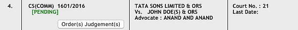 Tata Sons v John Doe