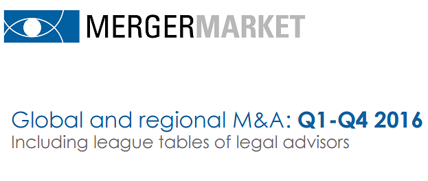 Mergermarket M&A Tables: The Indian legal market recorded its highest ever activity in 2016