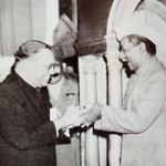 Dr. B.R. Ambedkar presents the constitution to the then President of India, Dr. Rajendra Prasad (Source: Ambedkar Photobiography)