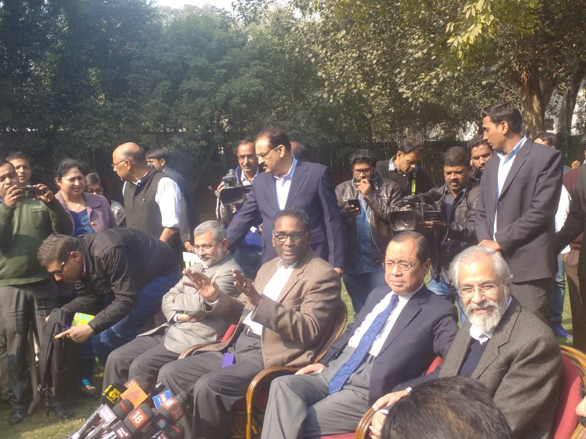 Four seniormost Supreme Court judges rise to have press conference at Chelameswar J residence