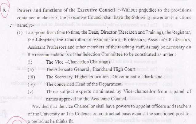 Section 9 of the Executive Council Statute provides that the Selection Committee must be chaired by the Vice-Chancellor