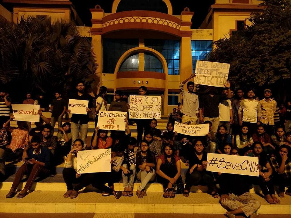 CNLU students protest imminent appointment of Prof Ishwara Bhat as VC