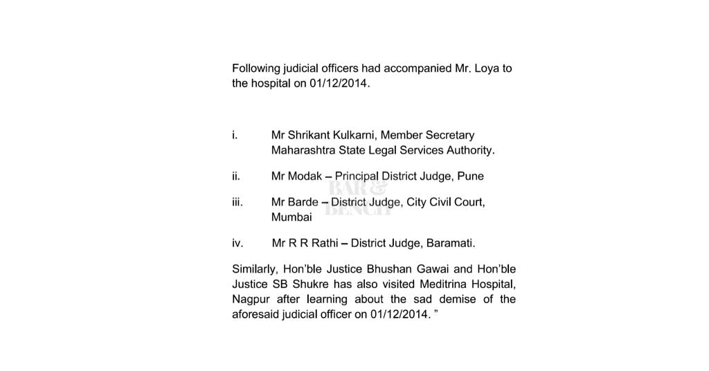 <em><strong>             Judicial officers who accompanied Mr. Loya to the Hospital. Mr. Shrikant Kulkarni, </strong></em>Mr<em><strong> Modak, </strong></em>Mr<em><strong> Barde and </strong></em>Mr<em><strong> RR Rathi. </strong></em>