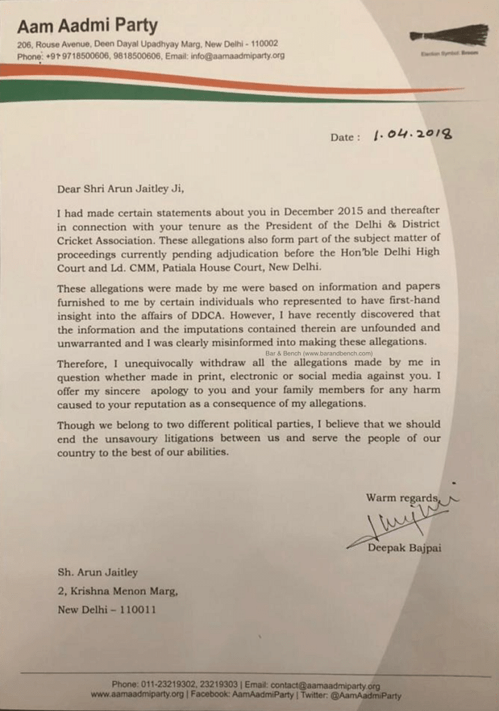All AAPologies: Kejriwal & Co send apology letters to Arun Jaitley