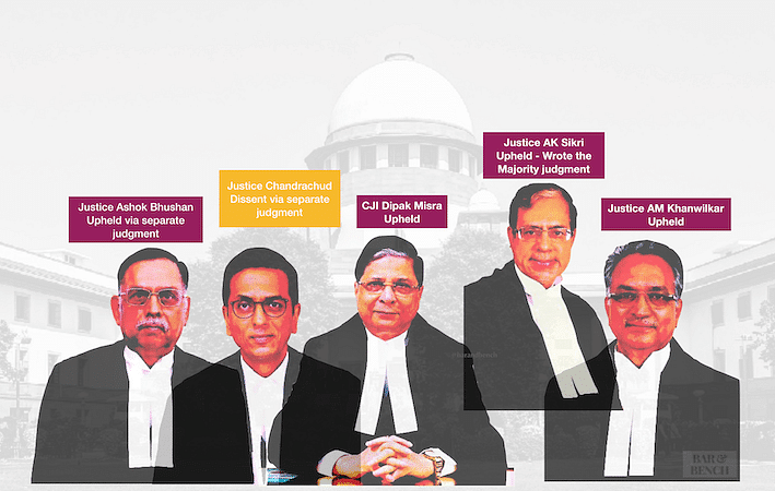 <strong><em>5 Judge Bench that upheld the Aadhaar Judgment</em></strong>