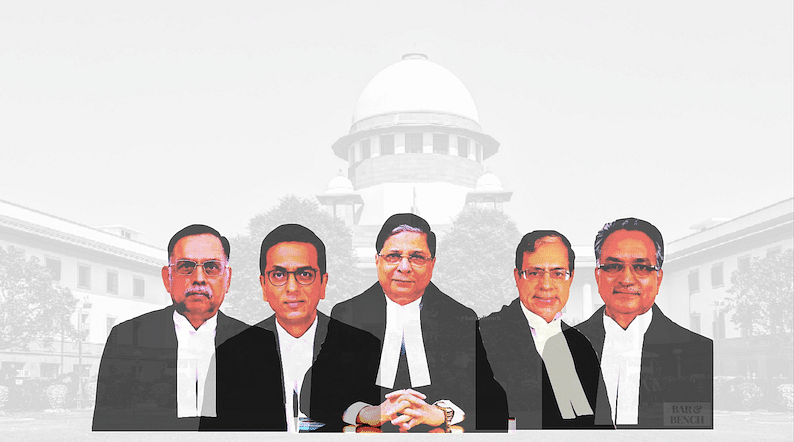 From Left to Right – Justice Ashok Bhushan, Justice DY Chandrachud, CJI Dipak Misra, Justice AK Sikri and Justice AM Khanwilkar