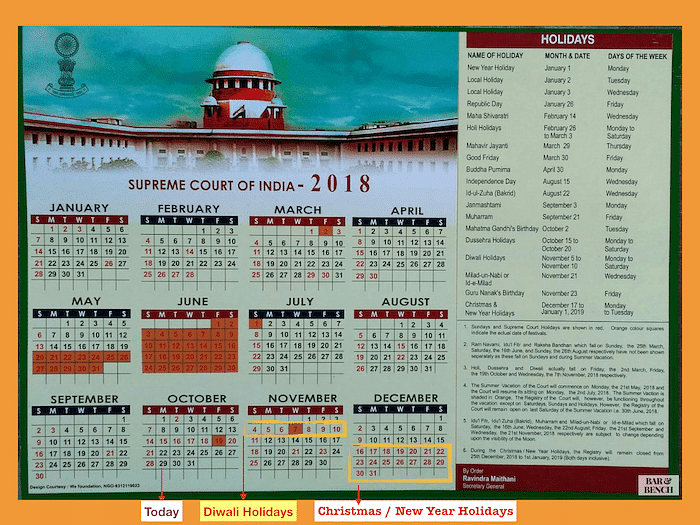 The Supreme Court will work 27 days in the next two months (today till January 1, 2019).