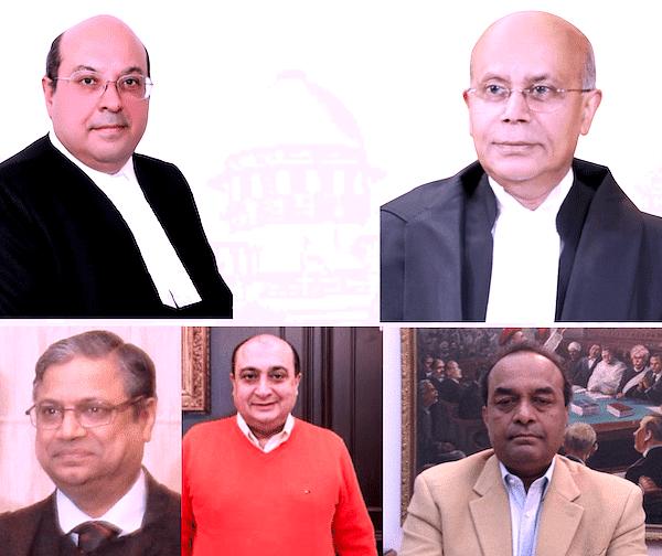 (Top) Justice Rohinton Nariman and Justice Navin Sinha<br />Senior Advocates Gopal Subramanian, Neeraj Kishan Kaul and Mukul Rohatgi
