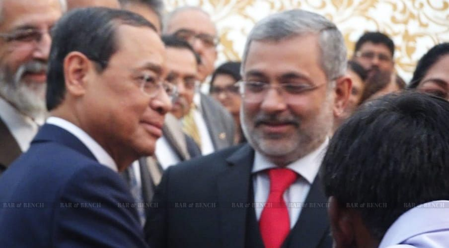 Justice (retd.) Gogoi seen with Justices (retd.) Madan Lokur and Kurian Joseph at an event conducted on the day of his retirement from the Supreme Court