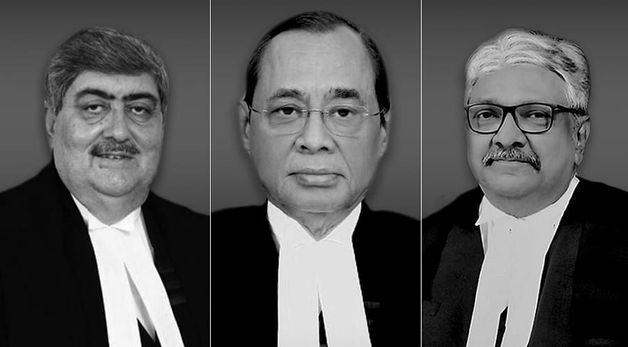 CJI Gogi, Justices Sanjay Kishan Kaul (Left) and KM Joseph (Right)