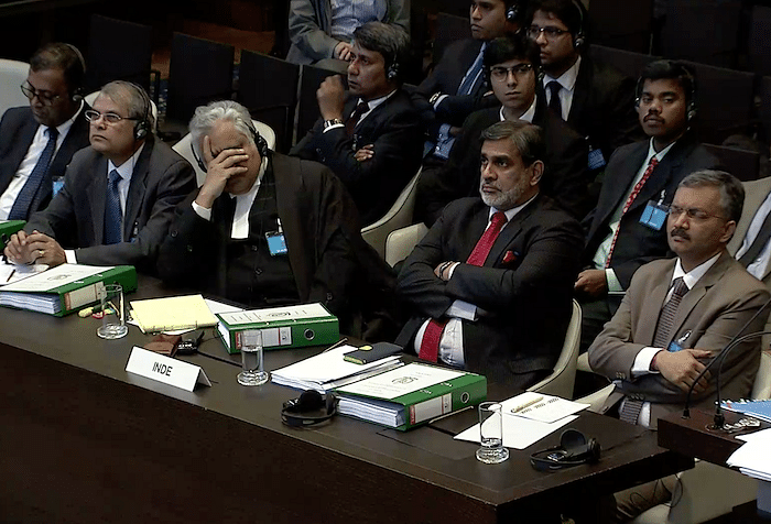 Indian delegation including Senior Advocate Harish Salve listening to the arguments of Pakistan