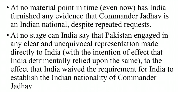 Pakistan's submissions contending India's failure to establish that Kulbhushan Jadhav is an Indian national