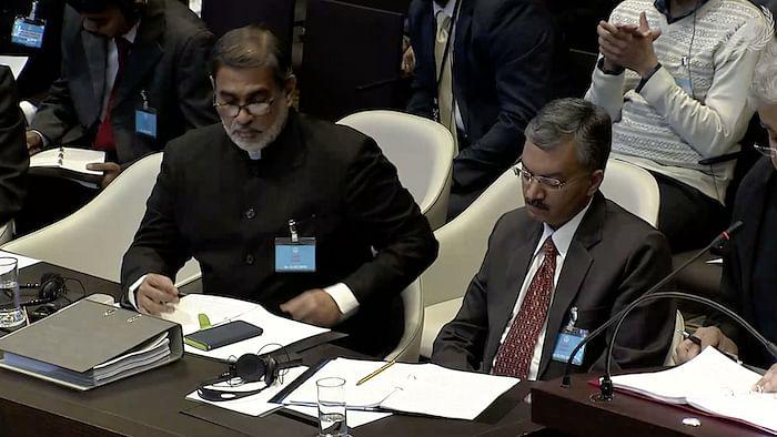 India's ambassador to the Netherlands, Venu Rajamony (L) and senior Indian diplomat, Deepak Mittal (R) at the ICJ hearing in the Kulbhushan Jadhav case