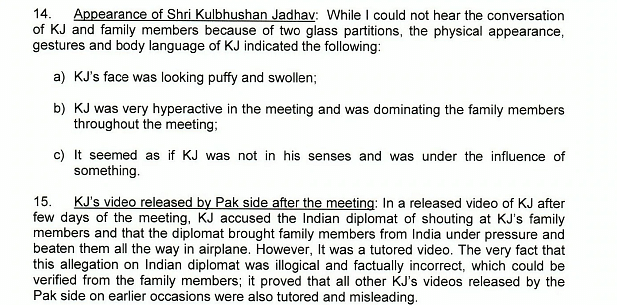 Pakistan's notes on the account given by Indian Deputy High Commissioner on Kulbhushan Jadhav's physical condition when he met his family.