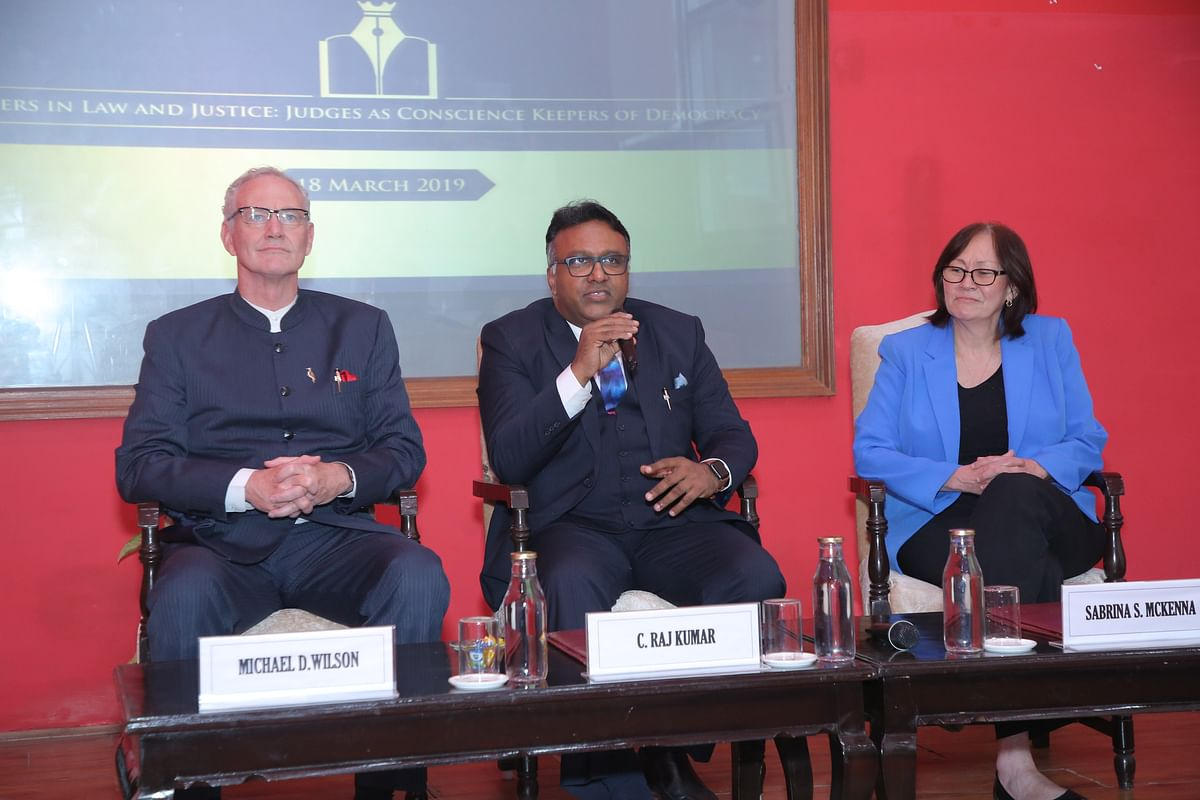 (L-R) Justice Michael Wilson, VC Dr C Raj Kumar and Justice Sabrina McKenna at the Discussion