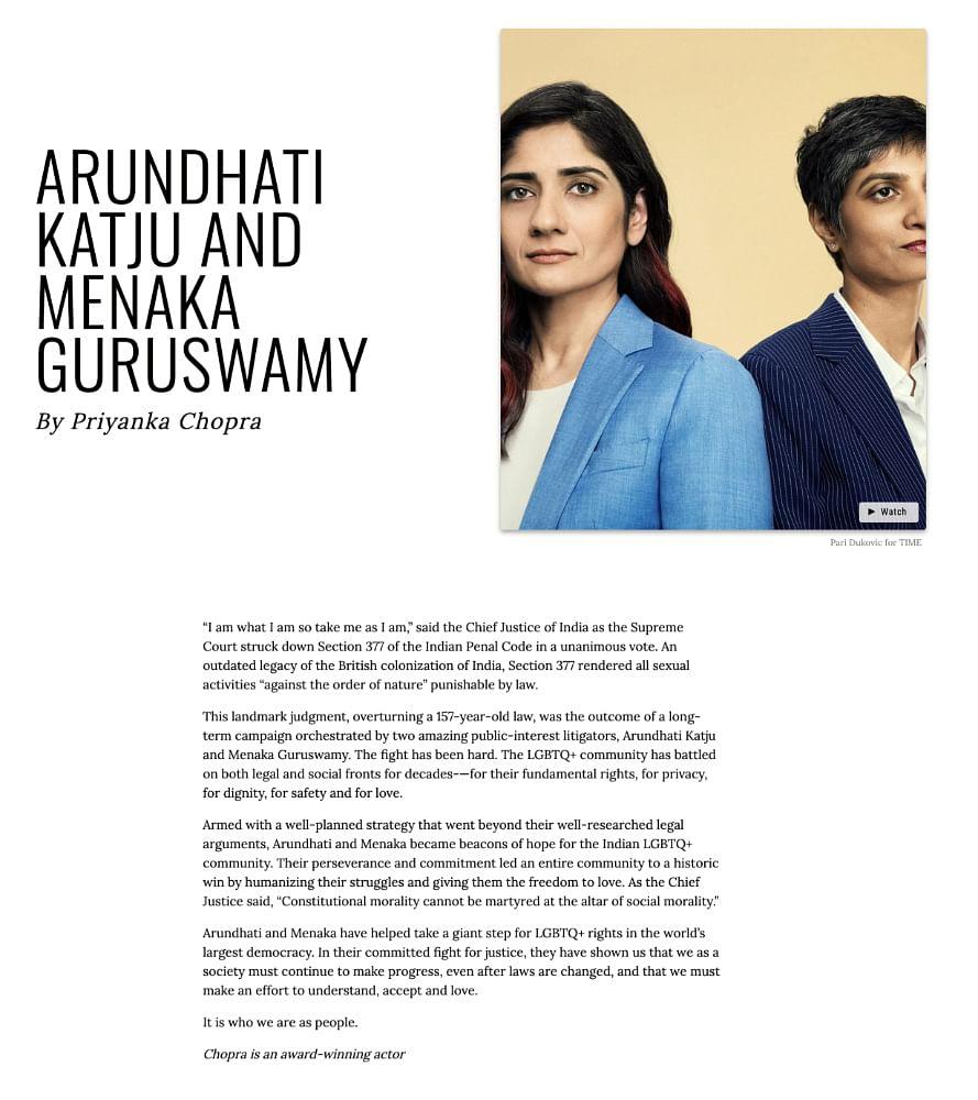 Time Magazine write up on Menaka and Arundhati by Priyanka Chopra (Courtesy: Time Magazine)