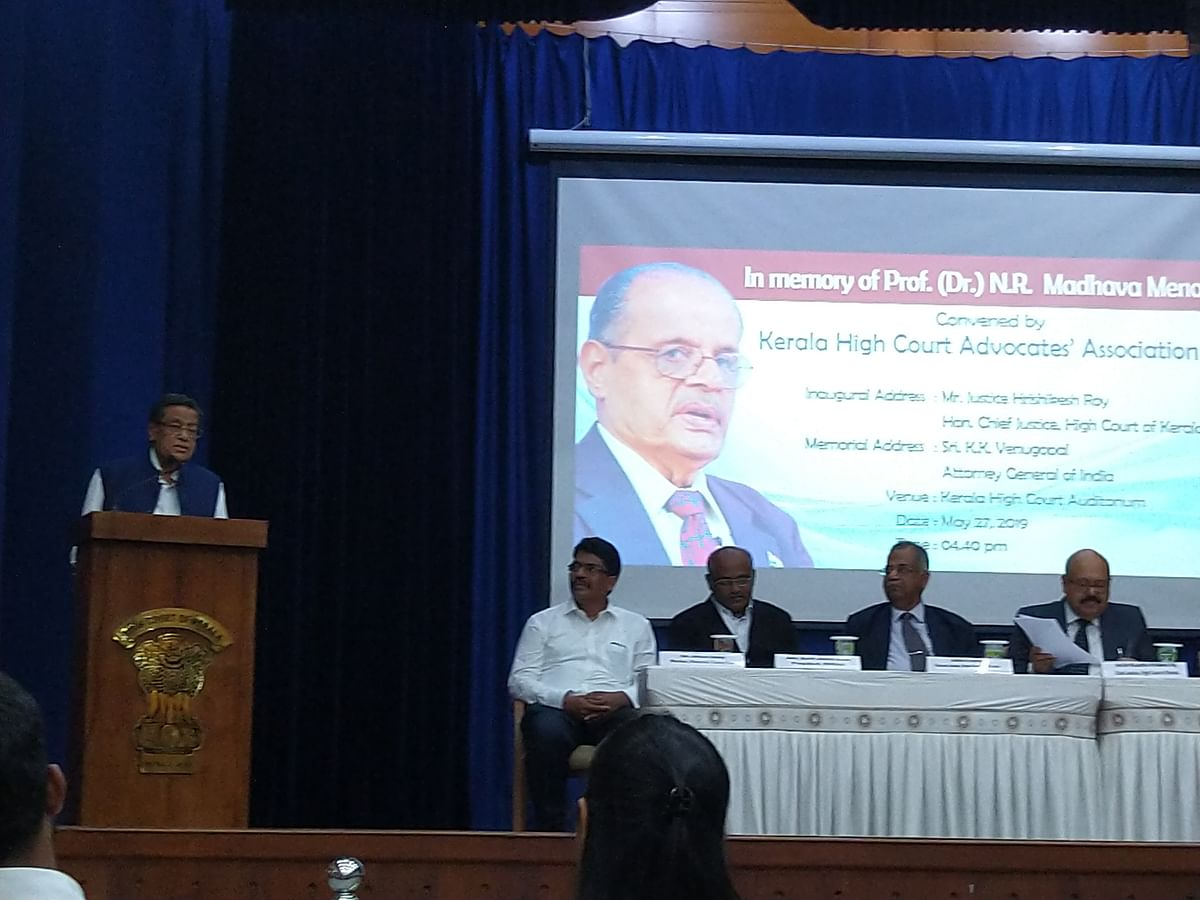 AG KK Venugopal renders the memorial address at the first Prof (Dr) Madhava Menon Memorial Lecture