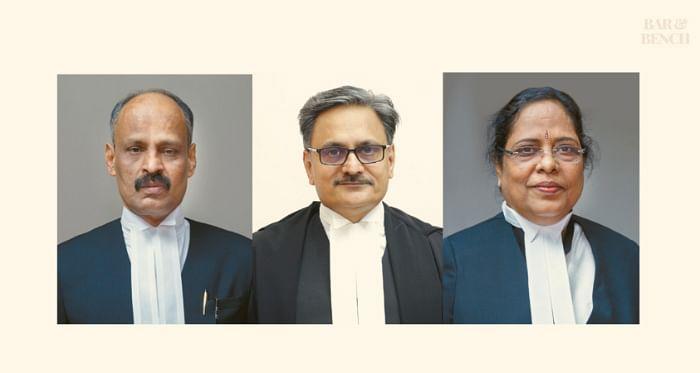 Justices R Narayan Pisharadi, Ashok Menon, Annie John (left to right)