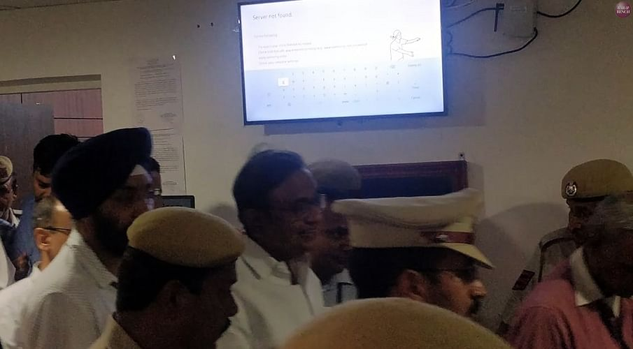 Chidambaram exiting the Court after the hearing this evening