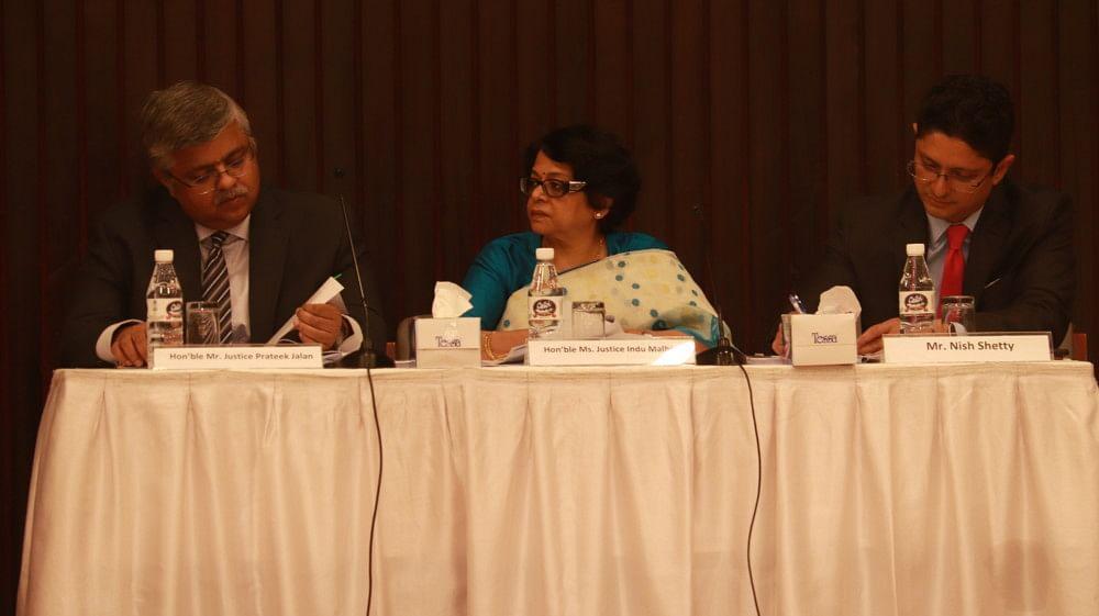 [L-R]: Justice Prateek Jalan, Justice Indu Malhotra, and Nish Shetty