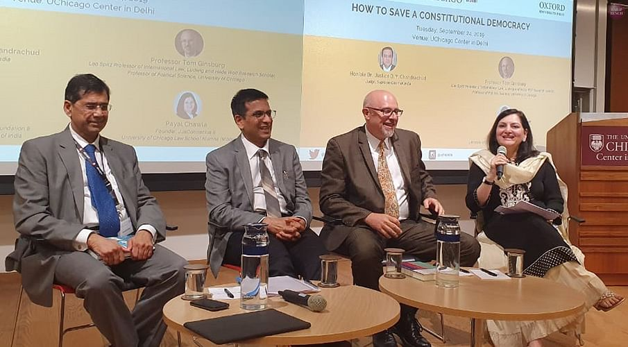 (L-R) Senior Advocate Arvind Datar, Justice DY Chandrachud, Professor Tom Ginsburg and Payal Chawla