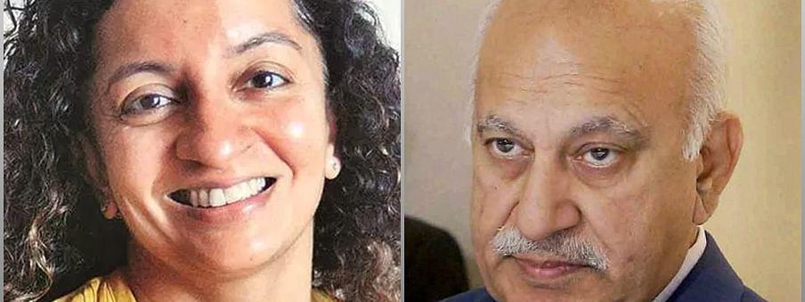 Priya Ramani (L) and MJ Akbar (R)